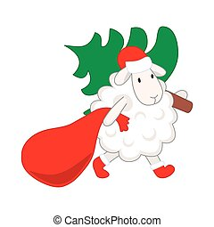 lamb carries a Christmas tree