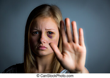Young girl victim - Young teenage girl victim of abuse...