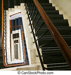 Rectangular staircase looking down with sense of perspective...