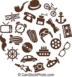 vintage objects icons in circle