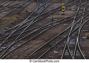 Aerial Top View of Intersecting Rails at Train Railway...