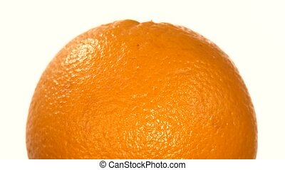 Top of ripe orange isolated on white, rotation - Top of one...