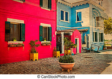 Colorful apartment building in Burano, Italy 1
