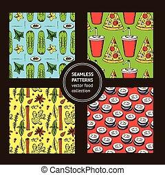 Sketch food pattern in vintage style