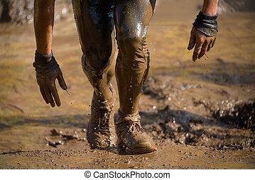 barro, carrera, corredores