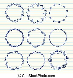 Vector hand sketched wreaths - Hand drawn set of vintage...