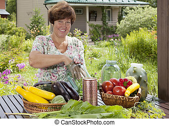 Pickling - Middle aged Caucasian woman with this year's rich...