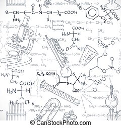 Seamless pattern of the formulas on the chemicals and...