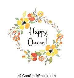 Vector illustration of card deducted to Onam. Indian motive...
