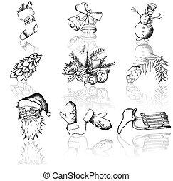 Christmas hand drawn icons - Vector set of Christmas hand...