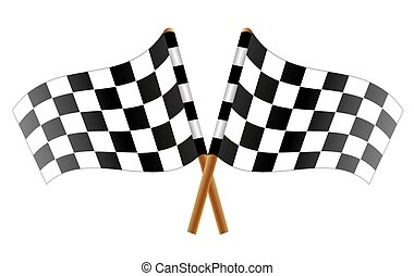 checkered flag - Two crossed checkered flags, vector art...