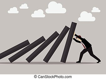 Businessman pushing hard against falling deck of domino...