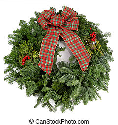 Christmas wreath - Beautiful, fresh holiday wreath with pine...
