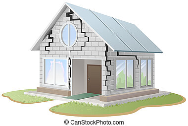 Crack in brick wall of house. Illustration