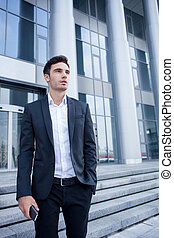 Attractive young man has a business meeting