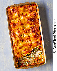 rustic italian baked spinach ricotta cannelloni pasta -...
