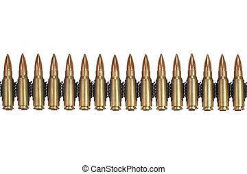 ammunition belt on white background