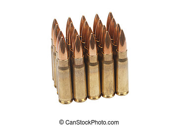 kalashnikov cartridges isolated on white