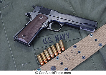 colt goverment 1911 with us navy uniform - colt goverment...