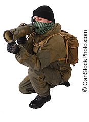 insurgent wearing shemagh with RPG rocket launcher isolated...
