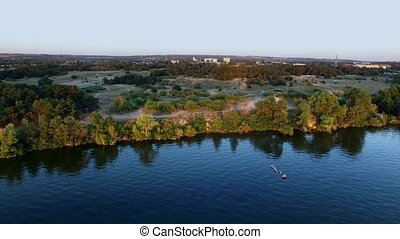 Flying Over The River at Sunset Aerial Survey - Flying Over...