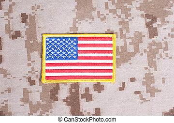 KIEV, UKRAINE - May 9, 2015 US FLAG badge on desert marines...