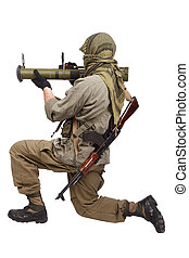 mercenary with anti-tank rocket launcher - RPG isolated