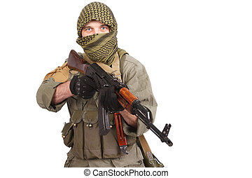 insurgent wearing keffiyeh with AK 47 gun isolated on white