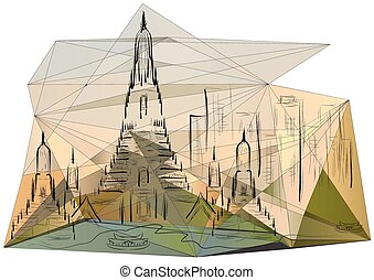 bangkok. abstract silhouette of city on multicolor...