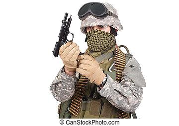 US soldier with handgun on white background