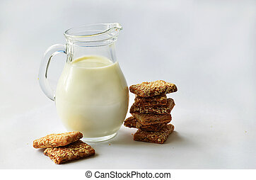 jug with milk and cookies