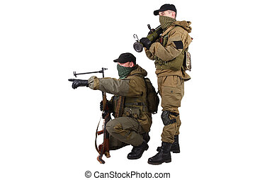 insurgents with AK 47 and RPD machine gun isolated on white...