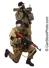 mercenaries with AK 47 and rocket launcher isolated on white...