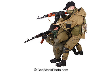 insurgents with AK 47 isolated on white background