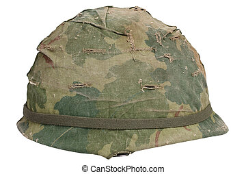 US Army M1 helmet with camouflage cover Vietnam war period...