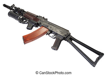 Kalashnikov AK 74 with GP-25 grenade launcher isolated on...