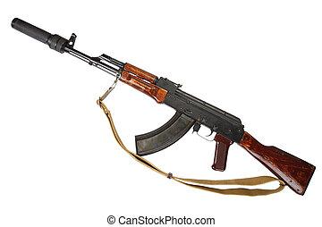 Kalashnikov with silencer isolated on white