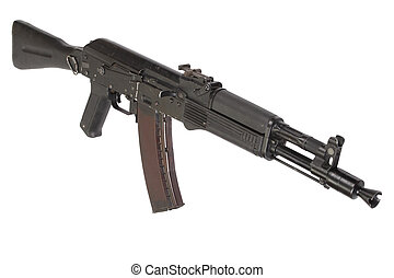modern AK assault rifle isolated on white