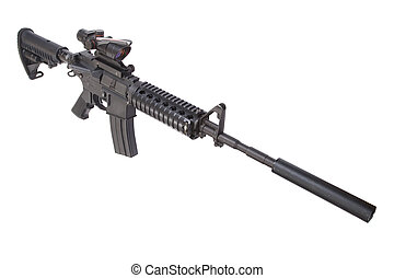 M4 rifle with silencer isolated on a white background