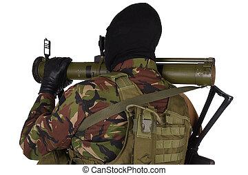 Ukrainian volunteer with grenade launcher RPG isolated on...