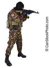 Ukrainian militiaman with kalashnikov rifle isolated on...