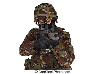 British Army Soldier with assault rifle isolated on white