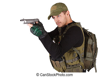 mercenary with handgun isolated on white