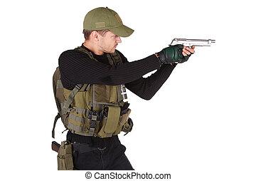 mercenary with handgun isolated on white