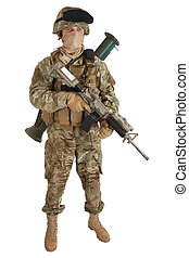 soldier with assault rifle on white background