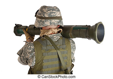 US ARMY soldier with AT rocket launcher isolated on white