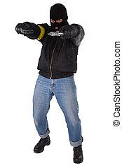 gunman with handgun isolated on white background