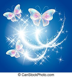 Transparent butterflies with golden ornament and firework -...