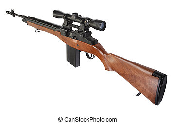 sniper rifle M14 isolated on white background