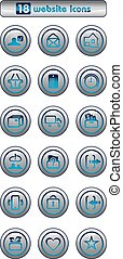 Eighteen silver website icons. Vector illustration